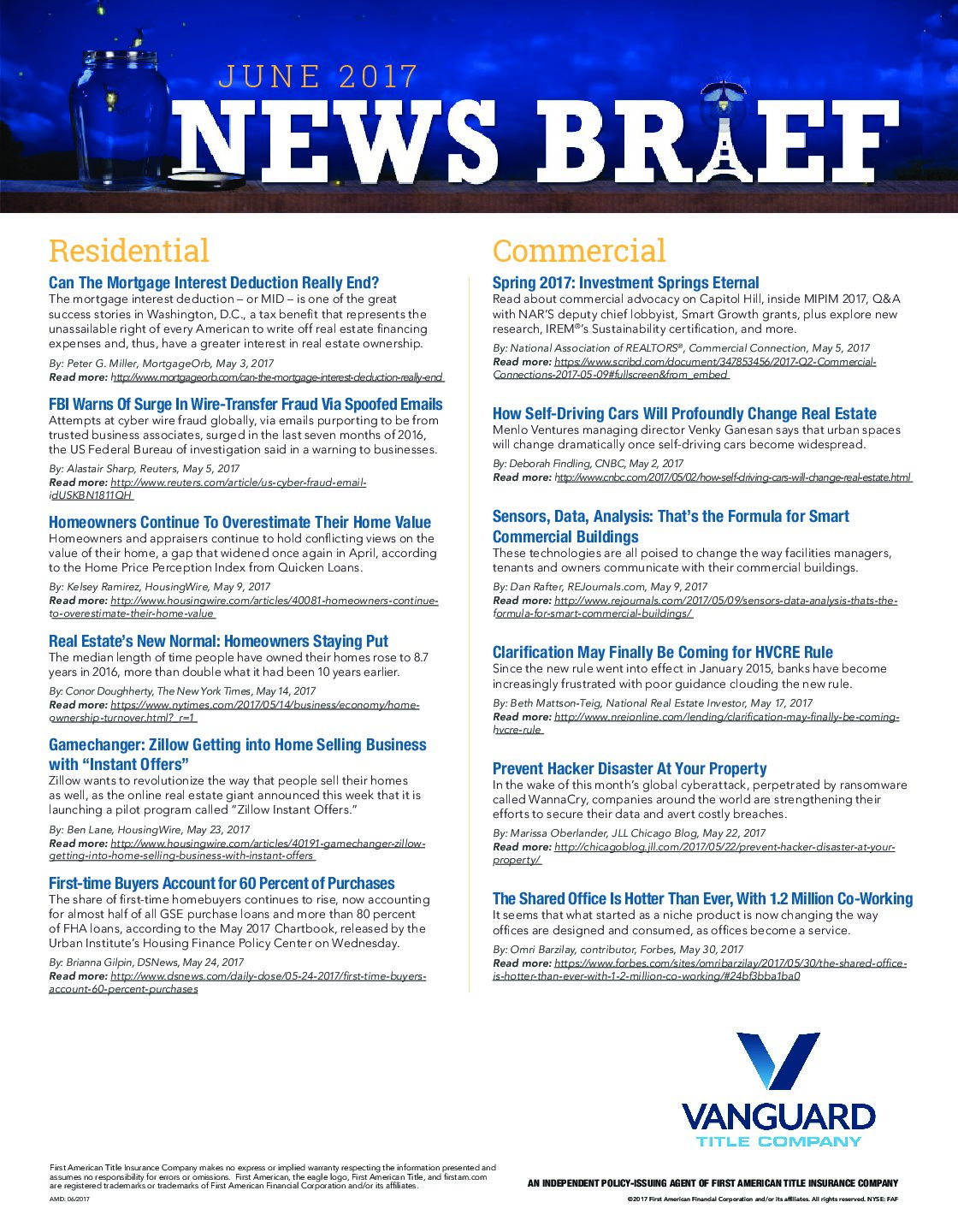 The June News Brief Has Arrived! - Vanguard Title Company